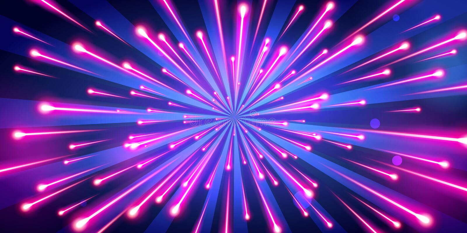 Vector Illustration abstract neon color big bang fireworks, galaxy background, speed of light stock illustration