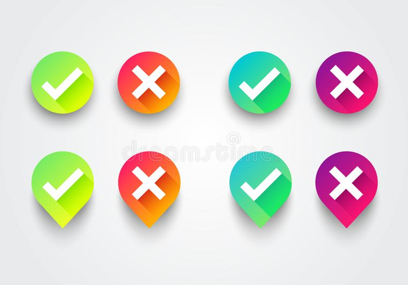Vector Illustration colorful gradient check box list icons set. Green checkmark OK and red X, Tick and Cross Signs, YES and NO but stock illustration