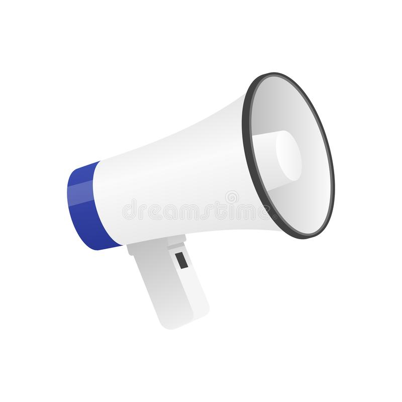 Vector illustration of cool detailed megaphone icon isolated on white. Background vector illustration