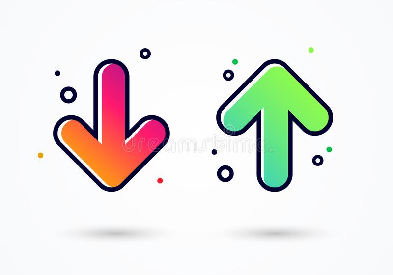 Vector illustration down and up arrow icon design - user experience feedback concept different mood emoticons icon positive and ne vector illustration