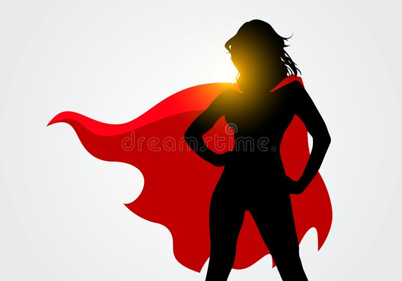 Vector Illustration Female Superhero Silhouette With Cape In Action Poses royalty free illustration
