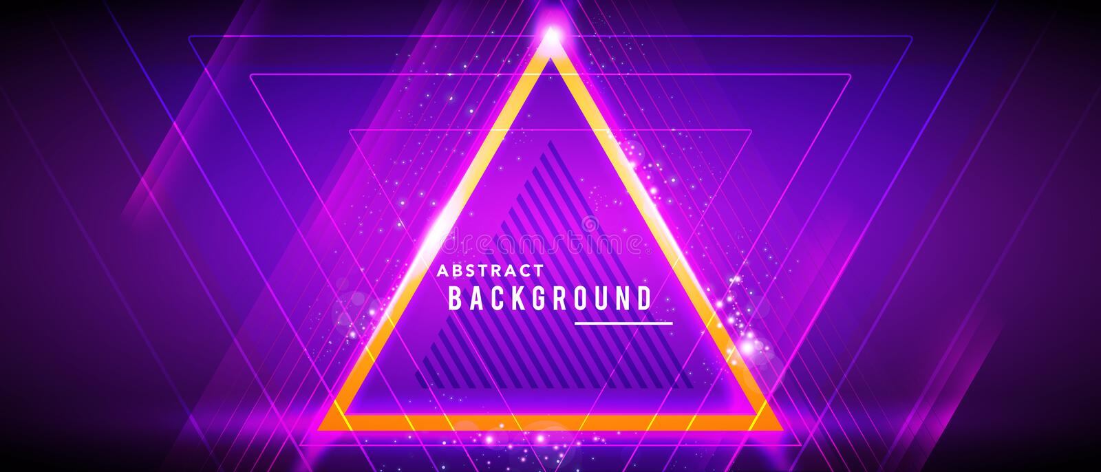 Vector illustration neon glowing techno lines, hi-tech futuristic abstract background template with triangle shapes stock illustration