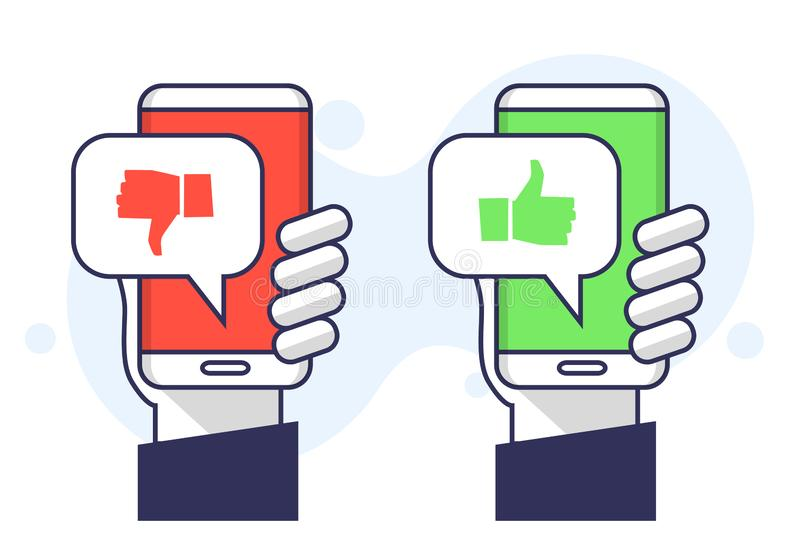 Vector illustration user experience feedback concept hand holding smartphone with like dislike message speech bubble button. Thumb. Vector illustration cool user royalty free illustration