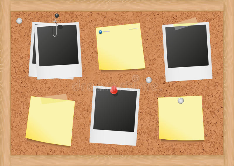 Vector illustration of a cork bulletin board with. Vector illustration of bulletin board with blank notes and photos. All objects are isolated. Colors and royalty free illustration