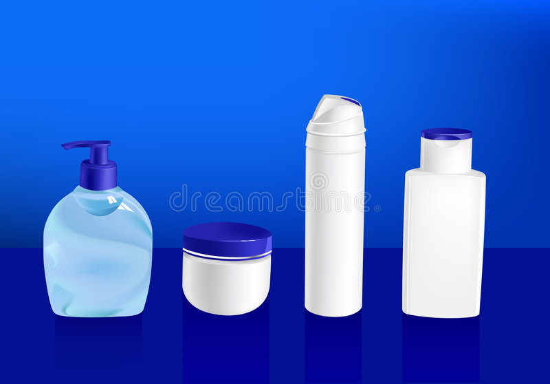 Vector illustration of cosmetic containers royalty free illustration