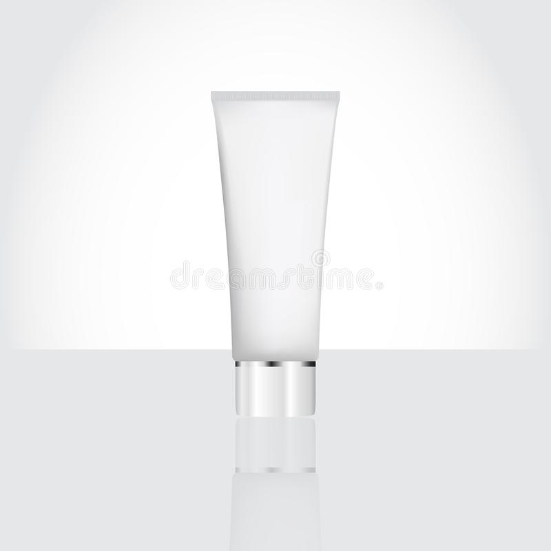 Vector illustration of cosmetic tube with reflection. On white background vector illustration