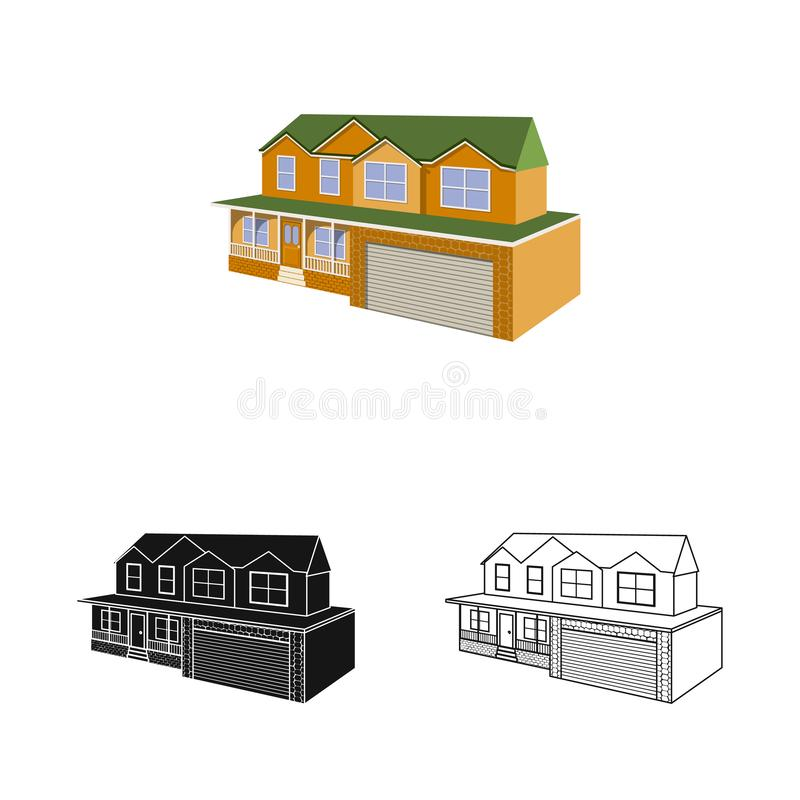 Vector illustration of cottage and apartment symbol. Set of cottage and dwelling stock symbol for web. Isolated object of cottage and apartment sign. Collection vector illustration