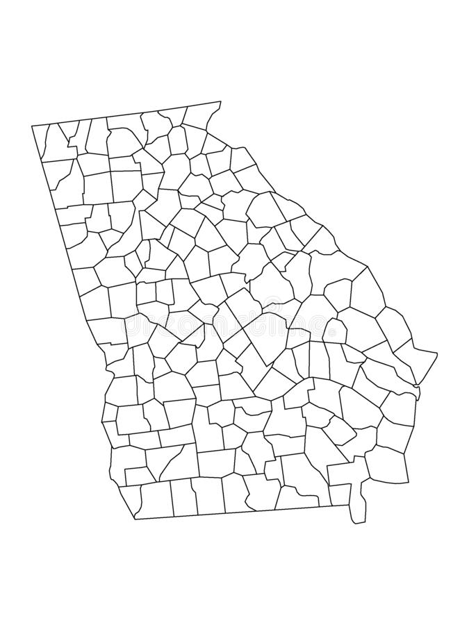State Of Georgia Map With Counties.Georgia Usa State Map By Counties Stock Vector
