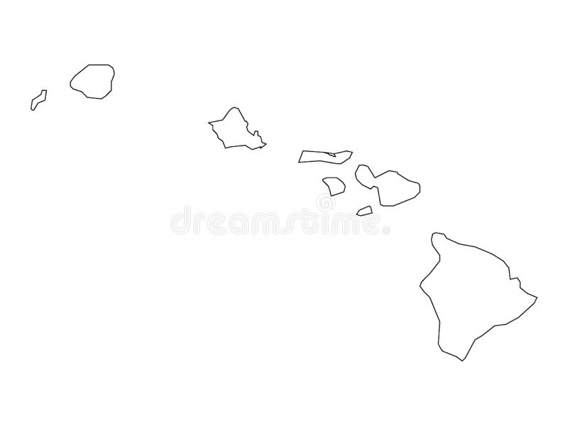 Counties Map of US State of Hawaii. Vector illustration of the Counties Map of US State of Hawaii stock illustration