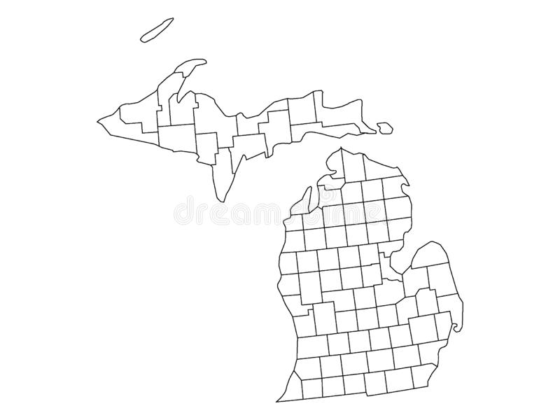 Counties Map of US State of Michigan. Vector illustration of the Counties Map of US State of Michigan royalty free illustration