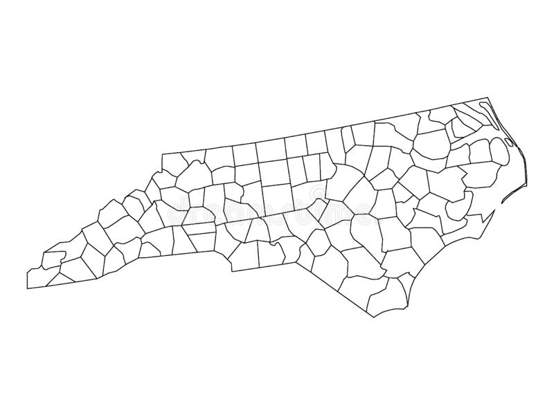 Counties Map of US State of North Carolina. Vector illustration of the Counties Map of US State of North Carolina royalty free illustration