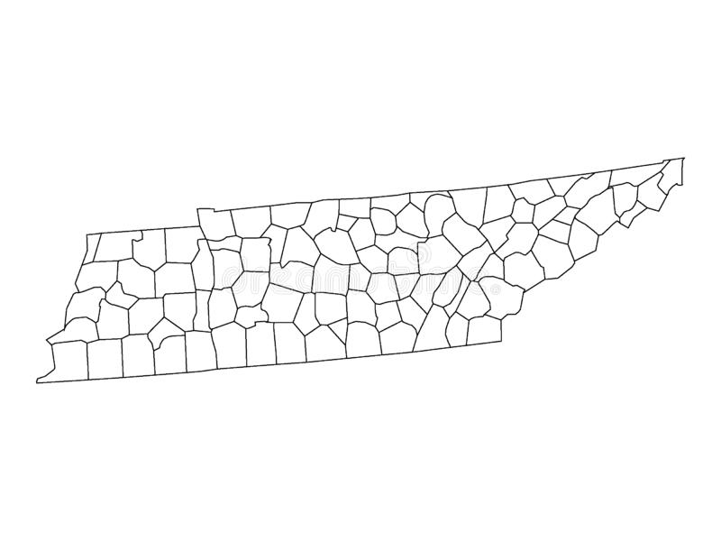 Counties Map of US State of Tennessee. Vector illustration of the Counties Map of US State of Tennessee stock illustration