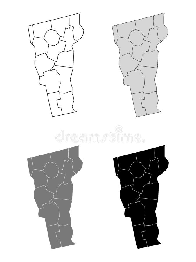 Set of Counties Maps of US State of Vermont. Vector illustration of the Counties Map of US State of Vermont royalty free illustration