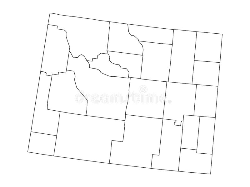 Counties Map of US State of Wyoming. Vector illustration of the Counties Map of US State of Wyoming stock illustration