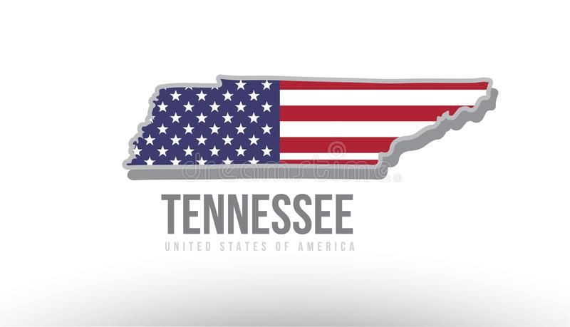 Vector illustration of a county state with US united states flag vector illustration