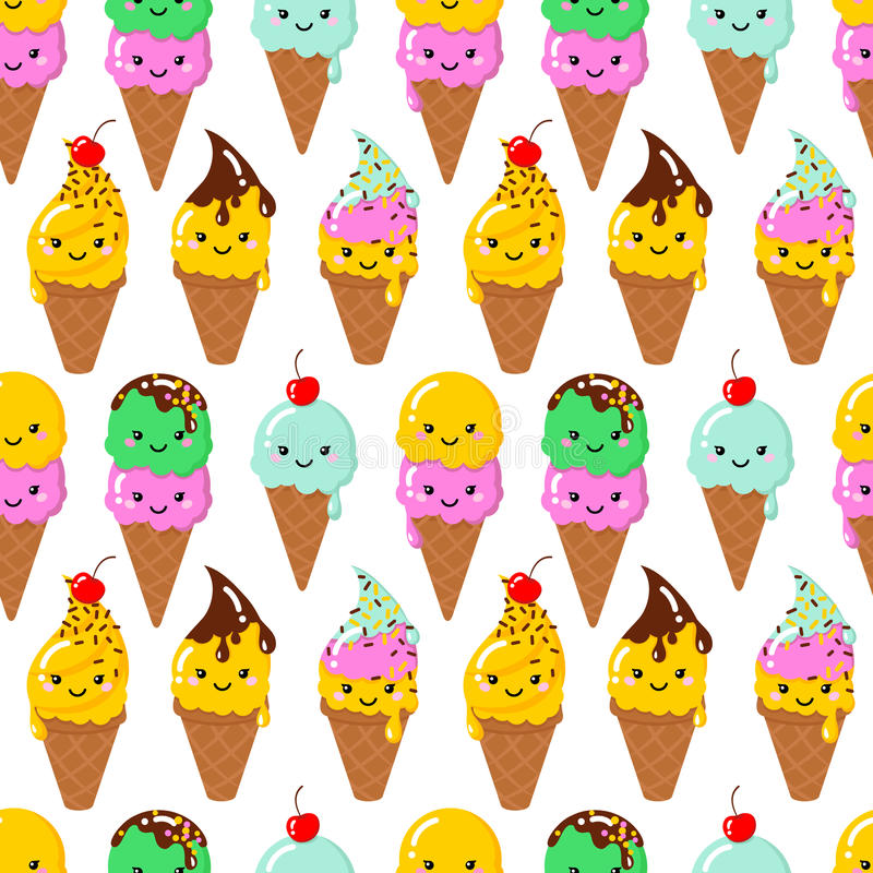 Vector illustration of a couple cartoon funny ice creams. With happy smiling faces for kids designs and decorations. Seamless pattern. Vector background vector illustration