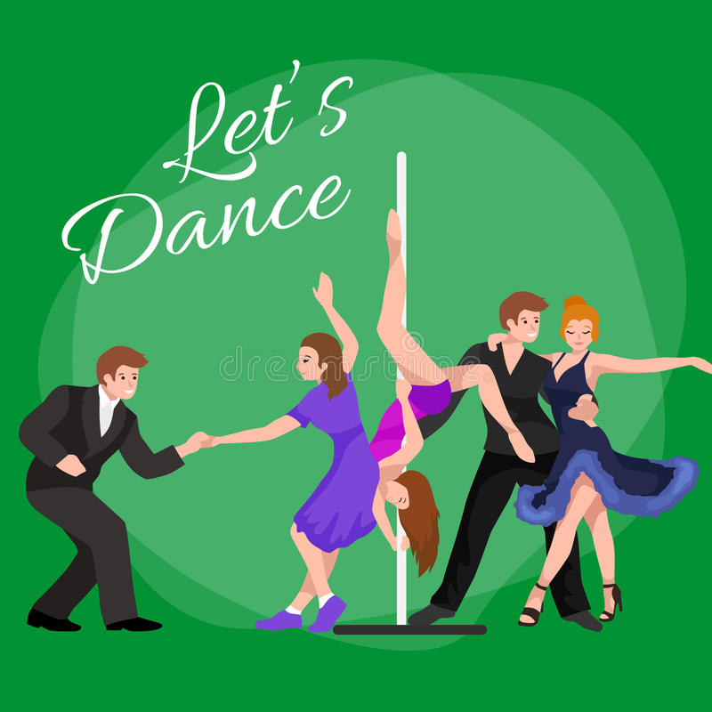 Vector illustration of couple dancing modern dance, Partners dance bachata, Dancing style design concept set. Traditional dance flat icon vector illustration royalty free illustration