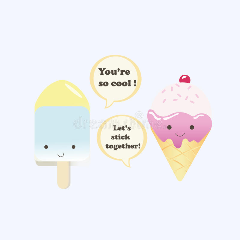 Vector illustration of a couple ice creams royalty free illustration