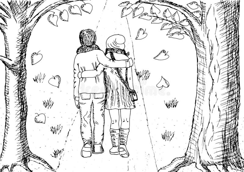 Vector illustration. Couple in love, black and white hand drawn sketch. Romantic stroll with an embracing man and woman. stock illustration