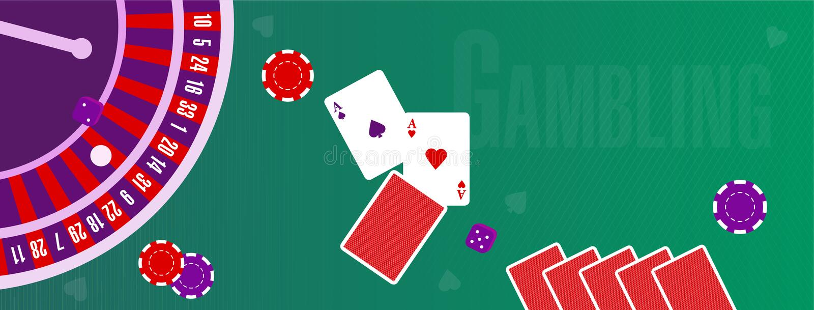 Vector illustration or cover for a site about gambling stock illustration