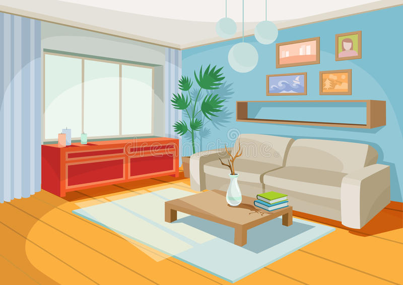 Vector illustration of a cozy cartoon interior of a home room, a living room. With a sofa, coffee table, chest of drawers, shelf and window curtains royalty free illustration