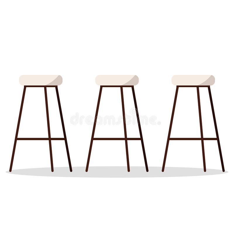 Vector illustration of cozy and comfortable wooden metal high bar or kitchen chairs with padded seat vector illustration