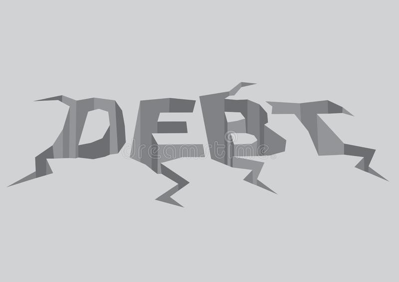 Vector illustration of cracked text debt in the grey colored ground. Concept to portray the a crisis royalty free illustration
