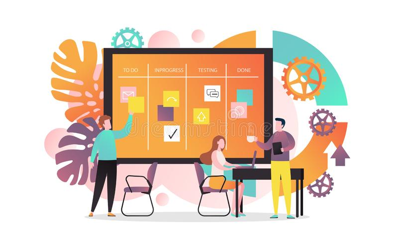 Agile vector concept for web banner, website page. Vector illustration of creative team developing software using agile kanban methodology with cards they move stock illustration