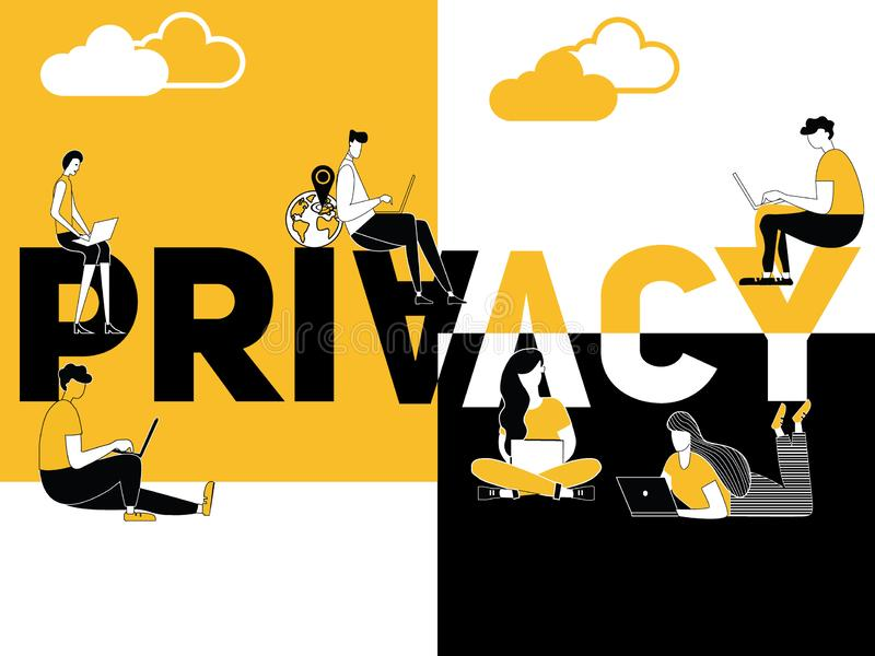 Creative word concept Privacy and people doing technology things royalty free illustration
