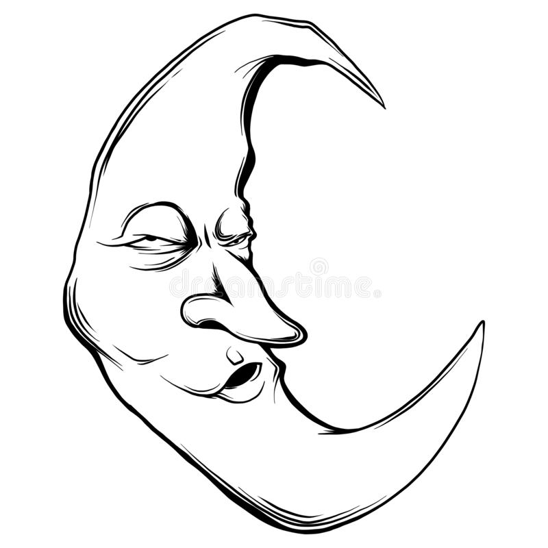 Vector illustration crescent moon face in white background. Vector illustration crescent moon face stock illustration