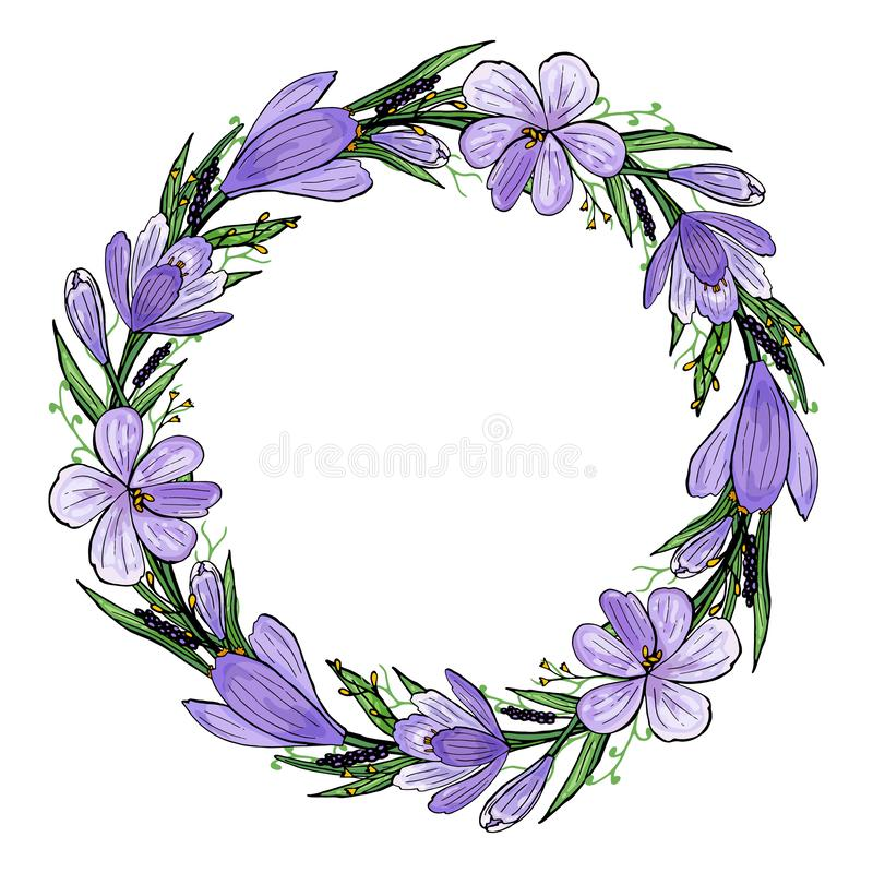 Vector illustration of Crocus wreath with hyacinth and herbs. Hand-drawn spring frame of violet and yellow flowers and green stock illustration