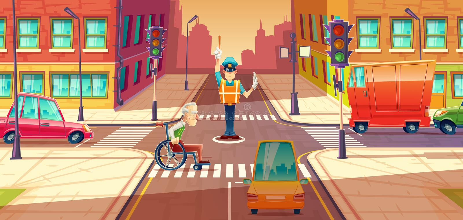 Vector illustration of crossing guard adjusting transport moving, city crossroads with pedestrian, disabled person. Urban highway regulation, crosswalk with stock illustration