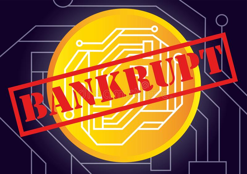 Vector illustration of cryptocurrency bankrupt and insolvent con. Cept royalty free illustration