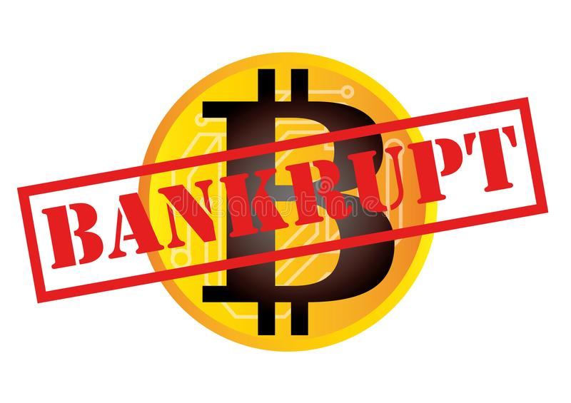 Vector illustration of cryptocurrency bitcoin bankrupt and insolvent concept.  stock illustration