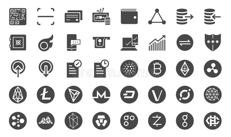 Cryptocurrency trading icon set. Included the icons as crypto coins, digital currency market, online trade, Blockchain, digital stock illustration