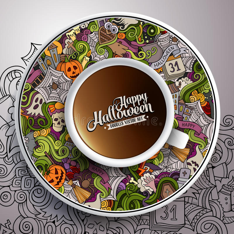 Vector illustration with a Cup of coffee Halloween stock illustration