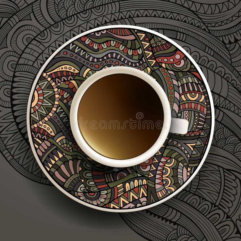 Vector illustration with a Cup of coffee stock illustration