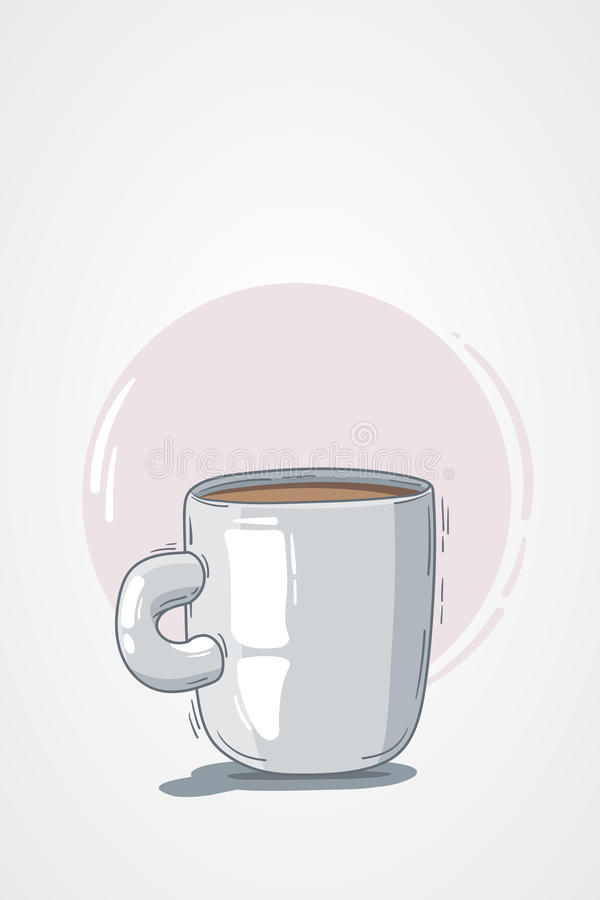 Vector illustration cup coffee or tea. light background, pink circle. doodle, cartoon, sketch style. concept for restaurant menu, vector illustration