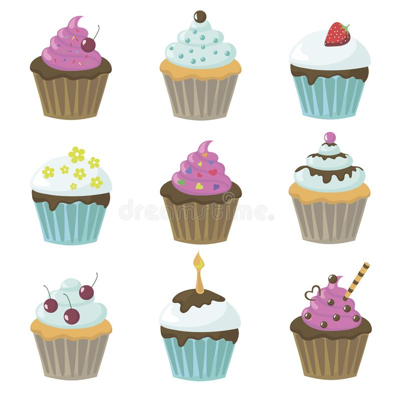 Vector illustration with cupcakes. Vector illustration with cute tasty cupcakes background bakery beige berry birthday biscuit bow cherry chocolate collection vector illustration