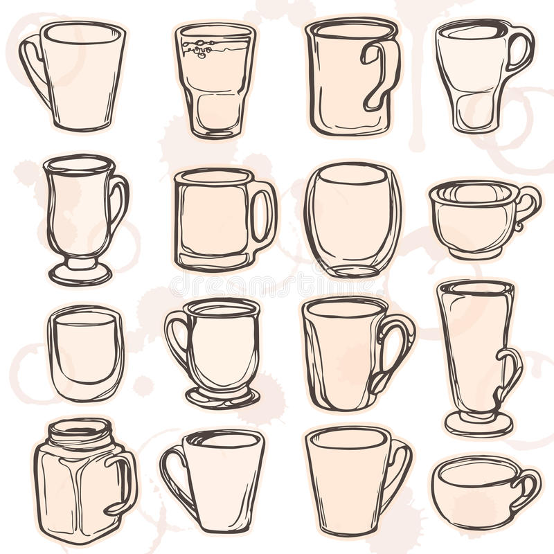 Vector illustration of cups, mugs and glasses with hand painted watercolor spot background. stock illustration