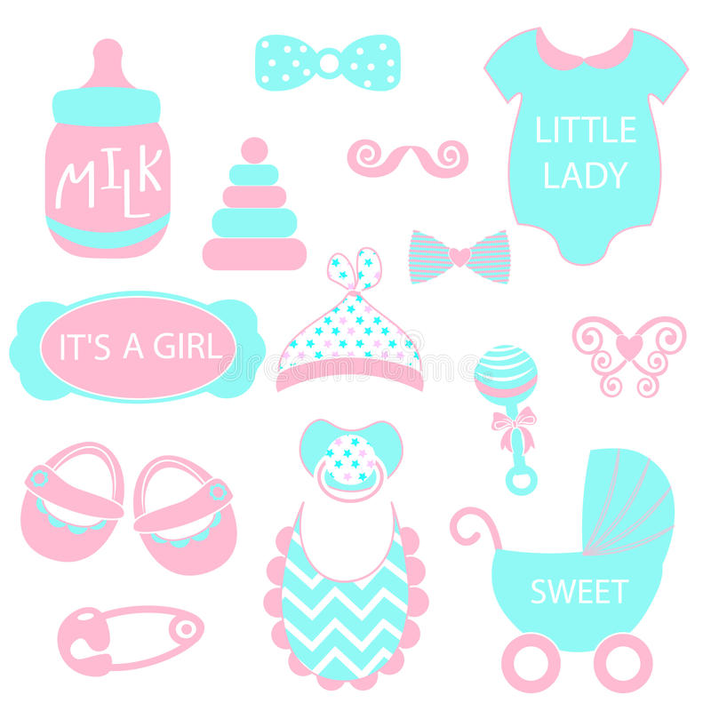 A vector illustration of cute baby girl icons like nappy pins, pacifier and baby toys. pink and turquoise silhouette royalty free illustration