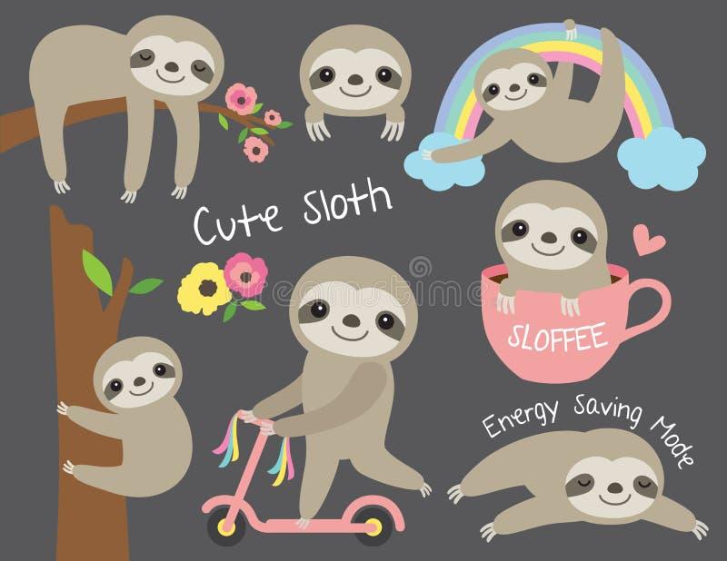 Cute Sloth Vector Illustration Set royalty free illustration