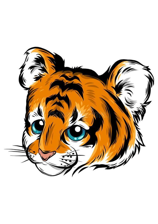 Vector Illustration of cute baby tiger lies. Illustration of cute baby tiger lies stock illustration