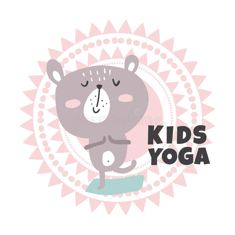 Kids yoga. Vector illustration, cute bear standing in yoga asana royalty free illustration