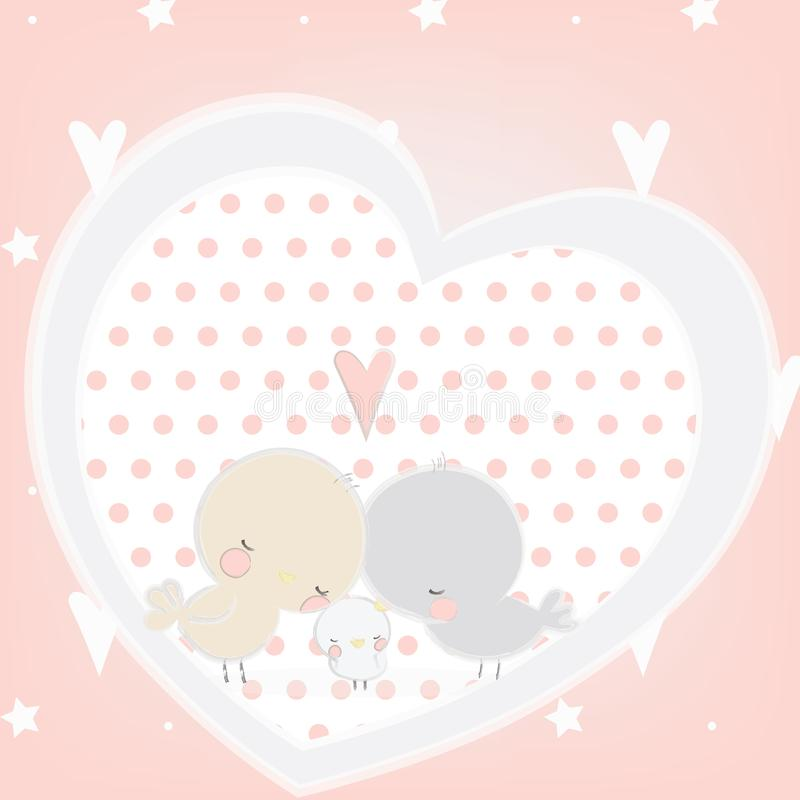 Vector illustration of cute birds family in love. With pastel colors vector illustration