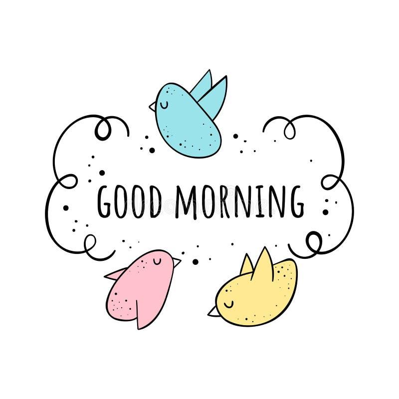Vector illustration of a Cute birds. Good morning. Scandinavian motives. Cartoon background. royalty free illustration