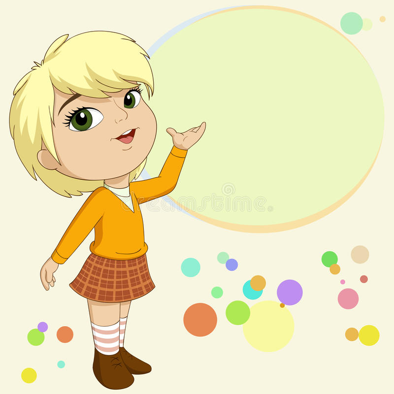 Cute Blonde Little Girl Present With Background Royalty Free Stock Image