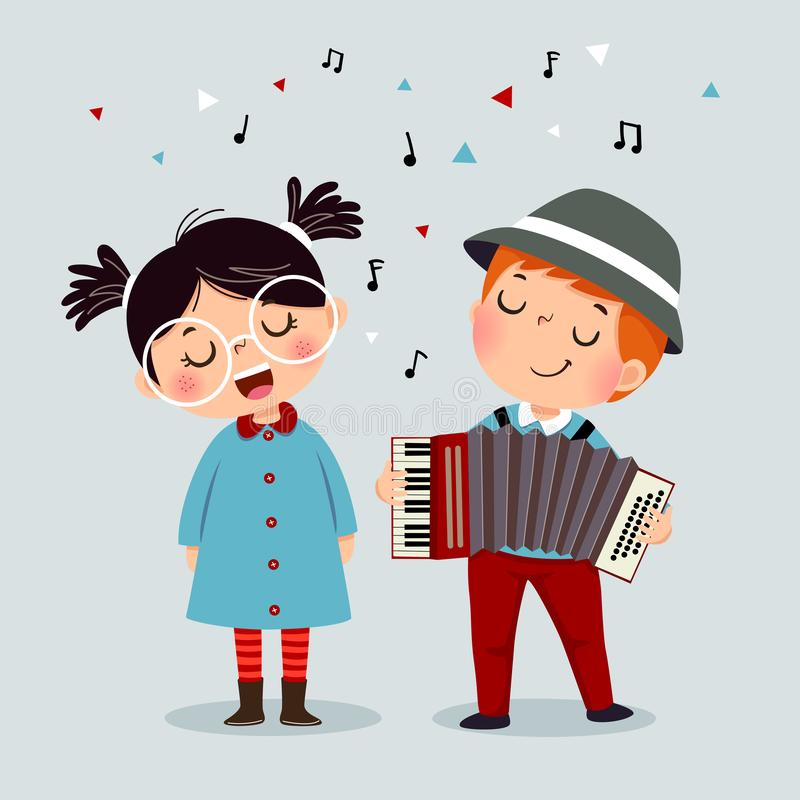 Cute boy playing on a musical instrument accordion and little girl singing royalty free illustration