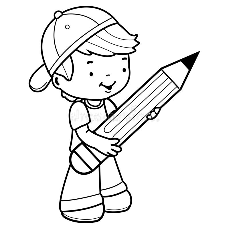 Student Holding A Big Pencil Stock Vector - Illustration ...