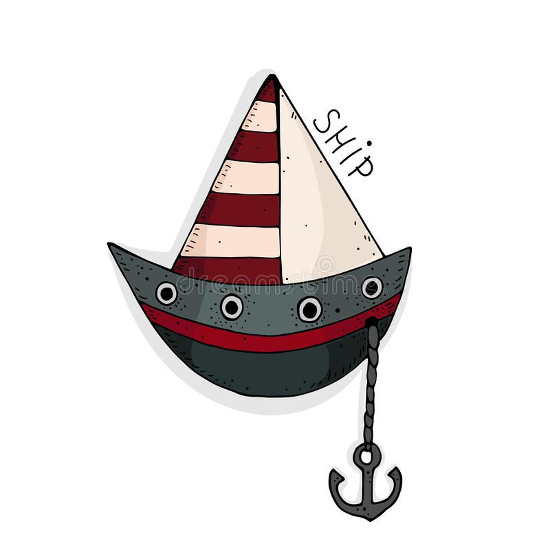 Vector illustration with cute cartoon colored ship. stock illustration